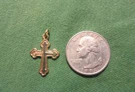 1 of 12only 1 available james avery retired 14k gold chased botonnee cross pendant