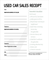 receipt template for car sale sample sales receipt for used car under fontanacountryinn com