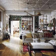 interior: Adorable Bohemian Interior Design With Gray Couch Front Sofa Bed  And Unique Table On