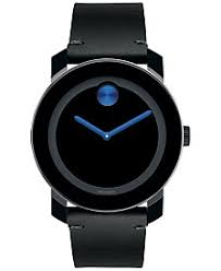 movado watches macy s movado men s swiss bold black leather strap watch 42mm 3600307