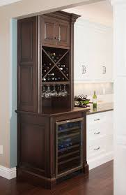 Chic Wine Cabinet in Modern Home Interior Design: Glorious Dark Brown  Painted Vertical Wine Cabinet Featured With Wine Glass Rack Installed .