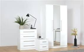 White Modern Bedroom Furniture White White High Gloss 3 Piece 3 Door ...