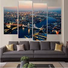 4 piece large hd london city street top rated canvas print painting for living room wall art picture home decor home picture in painting calligraphy from