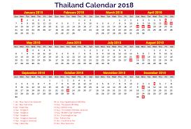 yearly printable calendar 2018 2018 printable calendar with thailand holidays free printable