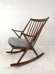 beautiful mid century walnut rocking chair with s m l f