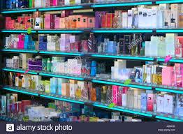 duty free perfume on in an andorran stock image