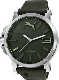 men s army green puma ultrasize silicone strap watch pu103461013