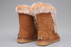 New Style UGG Fox Fur Short Boots 3586 Chestnut ...