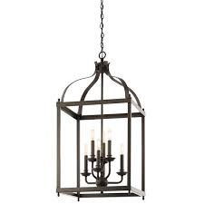 six light caged bronze foyer chandelier view full size