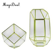 2 pieces modern tabletop clear glass geometric terrarium container window sill decor flower pot balcony planter