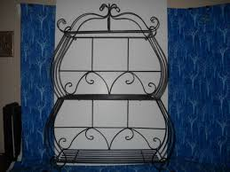 vintage wrought iron metal wall or table display shelf three tier excellent