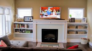 Floating Shelves Around Tv Craftsman Low Fireplace With Built In Bookshelves Craftsman