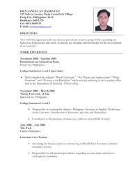 Pia Teacher Resume Examples Letter Philippines Fungram Co