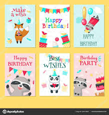Templates For Birthday Cards Happy Birthday Card Vector Template Set Stock Vector