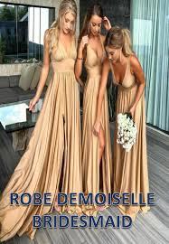 <b>Robe demoiselle d'honneur</b> Sexy Slit Champagne Gold Bridesmaid ...