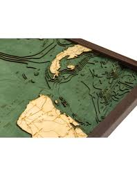 Woodcharts Gulf Of Mexico Bathymetric 3 D Wood Carved Nautical Chart