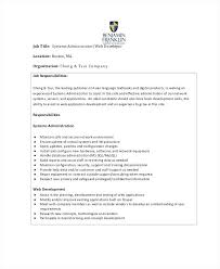 Application Development Job Description Web System Administrator Job ...