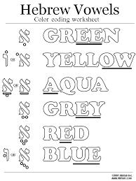 Hebrew Vowels Color Coding Worksheet Hebrew Vowels Learn
