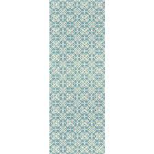 ruggable washable fl tiles aqua blue 2 5 ft x 7 ft stain resistant runner rug 93685web the home depot