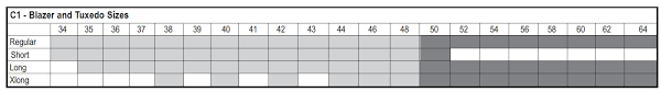 Shawl Size Chart Shawl Collar Dinner Jacket