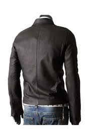 men s designer slim fit asymmetrical zipper dark brown leather jacket