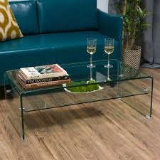 christopher knight home ramona glass rectangle coffee table with shelf by com