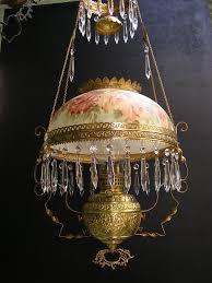 Brass Slip Font Hanging Oil Lamp Kerosene Lamp with Hand Painted Shade c.  1895