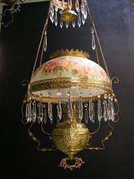 brass slip font hanging oil lamp kerosene lamp with hand painted shade c 1895