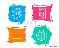 Vending Machine Sales Data Delectable Set Of Update Data Credit Card And Coffee Vending Icons Globe Sign