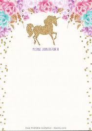 Free Templates Invitations Printable Free Printable Golden Unicorn Birthday Invitation Template