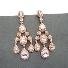 rose gold chandelier earrings rose gold bridal earrings rose gold by on