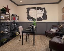 outstanding home office design ideas with old world maps framed and brown leather sofa also using black table