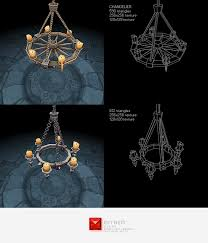 low poly chandelier set 3docean item for