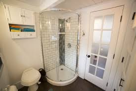tiny house bathroom.  House Curved Shower Stall In Tiny House Bathroom With Tiny House Bathroom