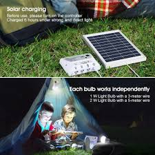 suaoki solar lighting system portable home light kit with solar panel controller 2 led bulbs 3 usb ports and 1 usb cable for indoor outdoor camping
