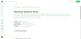 meeting debrief evernote templates