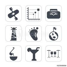 Lighthouse Symbol On A Chart Premium Fill Icons Set On White Background Such As White