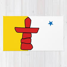 nunavut territory flag authentic version with inukshuk and blue star rug