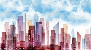 Up Town #pastel #skyscrapers #abstract ...