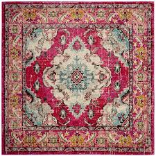 safavieh monaco mahal pink square indoor oriental area rug common 7 x 7
