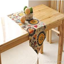 bz377 cotton linen table runner sunflower printed kitchen table cover party wedding decoration home textile organza table runners outdoor table runner from