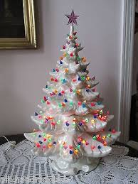 Ceramic Tabletop Christmas Tree With Lights Interesting Vintage Ceramic Pearlescnt White Lighted Christmas Tree 32 Tall