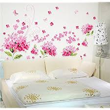amaonm removable diy romantic pink hydrangea flowers flower vines butterfly wall decals home art decor stickers on removable wall decor stickers with amaonm removable diy romantic pink hydrangea flowers flower vines