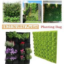 64 garden vertical planter multi pocket wall mount living growing bag felt pot