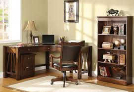 Old And Traditional L Shaped Oak Wood Home Office Corner Desk Design With  Drawer Storage And Small Bookshelf Beside Cabinet Without Door