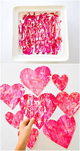 Valentine Shaving Cream Hearts. Fun process art project for kids to make  handmade paper valentine