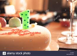 Happy Birthday Cake For Children Party Decorated With One Candle And