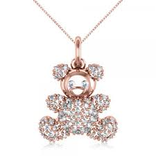 diamond accented teddy bear pendant necklace in 14k rose gold 0 28ct