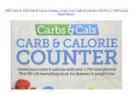 Food Calorie Book Pdf Carbs Cals Carb Calorie Counter Count Your Carbs Calorie