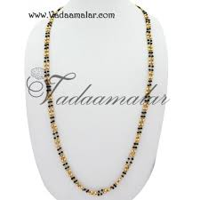mangalsutra traditional india black beads long chain